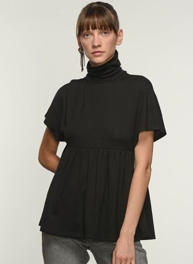 NGSTYLE Ngkaw21Bl0010 Boğazlı Örme Bluz Siyah